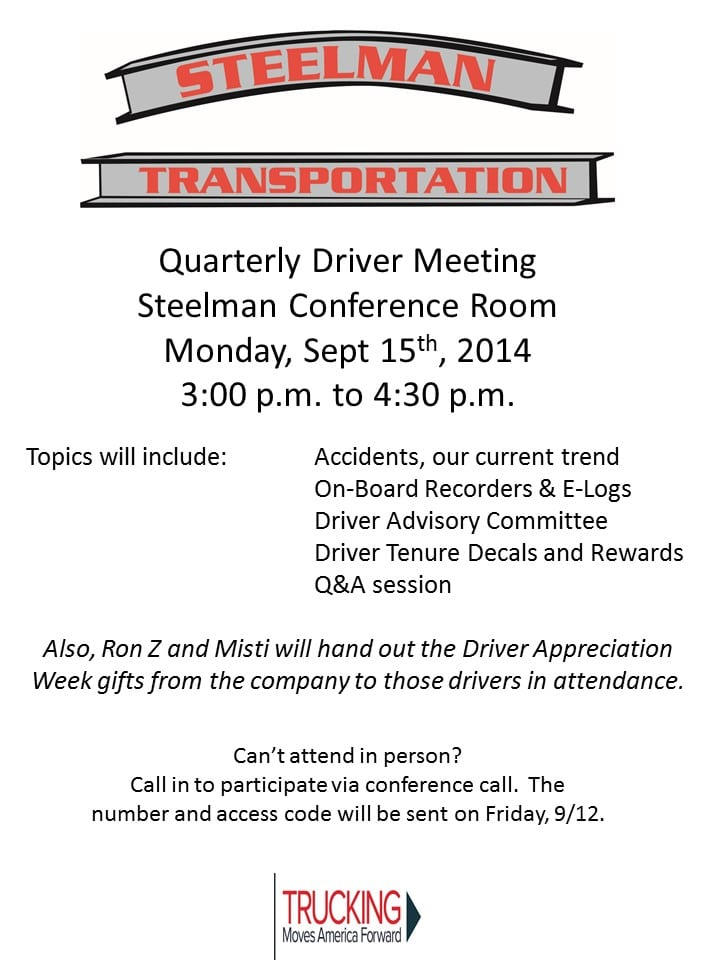Quarterly Driver Meeting